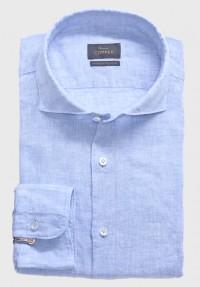 Leinen Sommer Hemd Hellblau