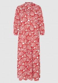 Stufenkleid mit Kreisen rot