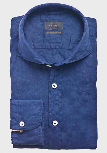 Leinen Casual Hemd Mittelblau