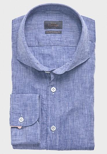 Leinen Casual Hemd Blau