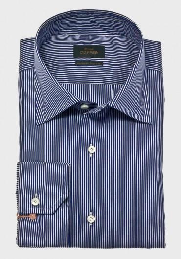 Streifen Hemd Marine Blau