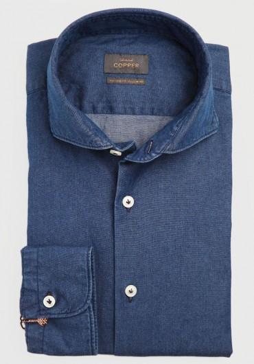 Denim Stretch Hemd Blau