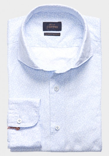 Leinen Print Hemd Hellblau