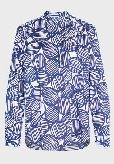 Baumwoll Bluse mit Kreisen blau