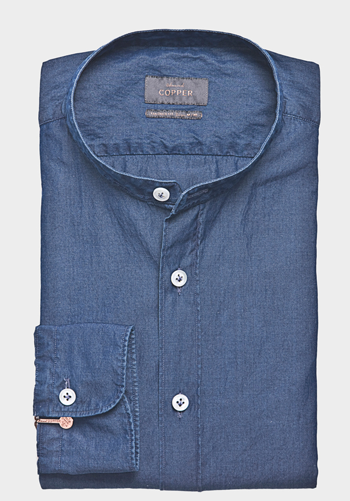 Granddad Denim Hemd Blau   Edward Copper