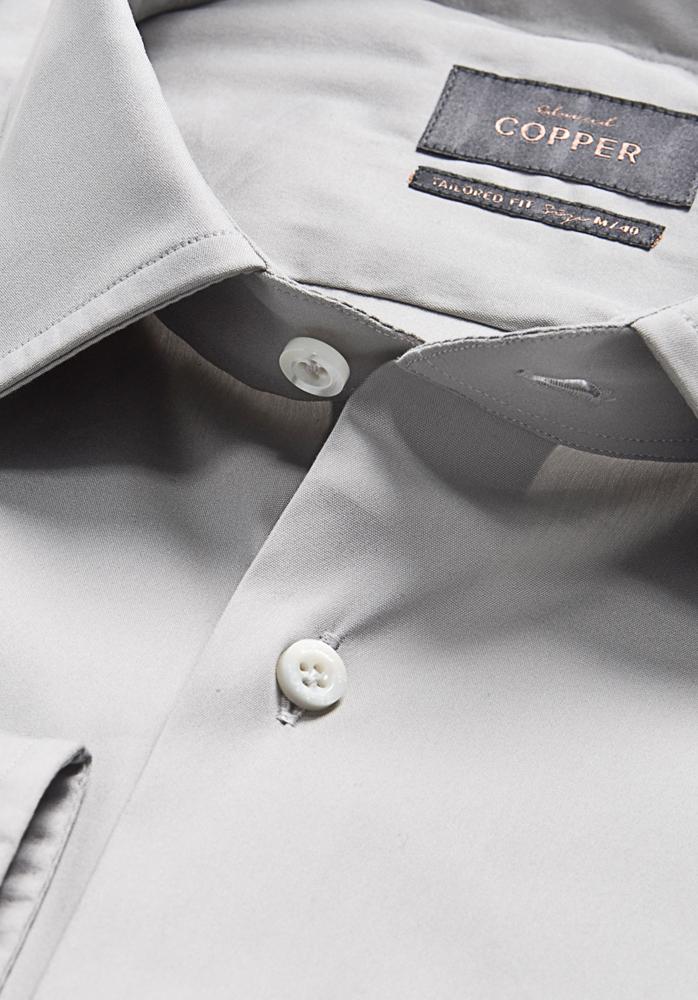STRETCH Hemd silbergrau | Edward Copper